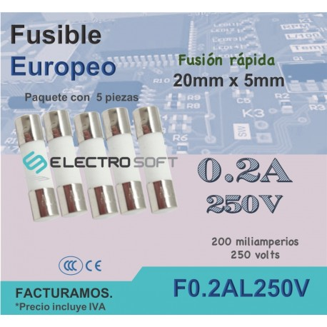 Fusible cerámico tipo europeo 0.2A 250V - 200mA fusión rápida | F0.2AL250V