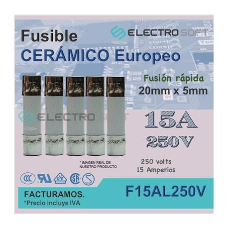 5pz Fusible cerámico tipo europeo 15A 250V - fusión rápida   F15AL250V